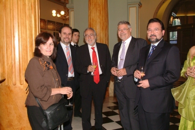 Manuel Carrillo con periodistas Barcelona y Madrid