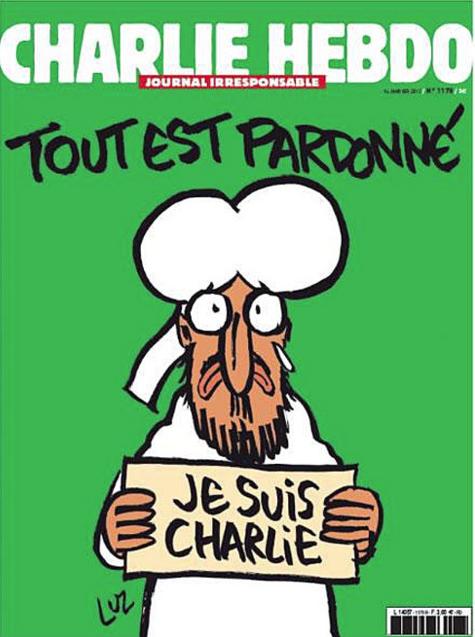 Portada revista Charlie Hebdo tras atentado, asesinato de sus periodistas en París Enero 2015