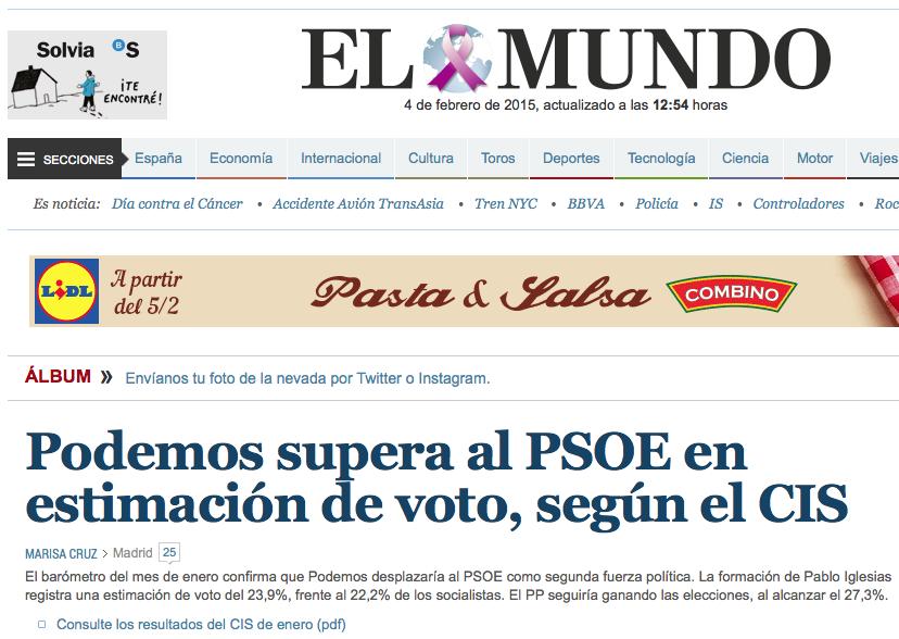 Titular Podemos en el Mundo Encuesta CIS 2015