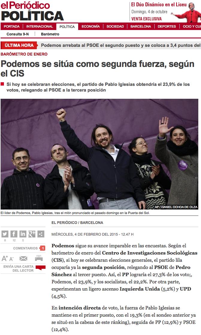 Titular sobre Podemos en El Periódico de Cataluña