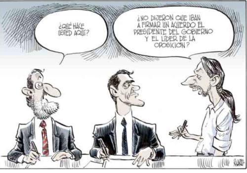 Chiste sobre Pablo Iglesias, Rajoy y Pedro Sánchez de Ricardo El Mundo