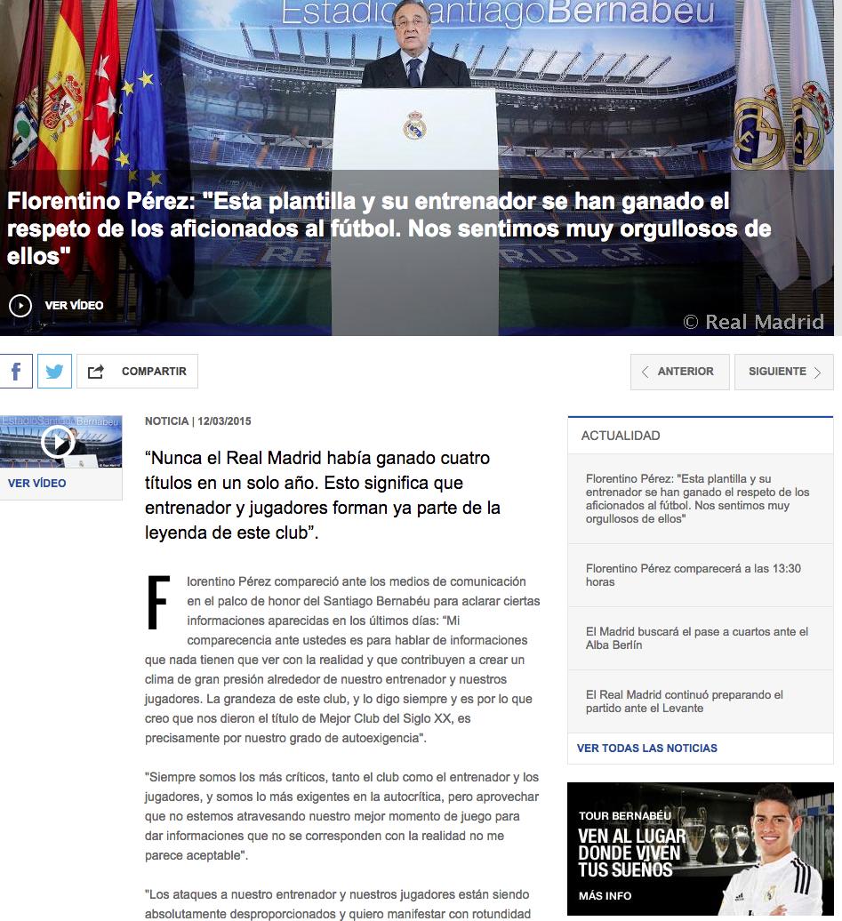 Críticas Florentino Pérez a la Prensa