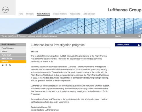 Comunicado Lufthansa reconoce Andreas Lubitz severas depresiones