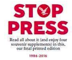 Portada Independent dejando de publicarse en papel 1986-2016